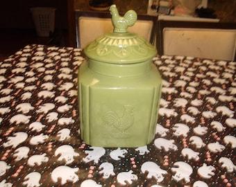vintage home essentials large green rooster cookie jar canister