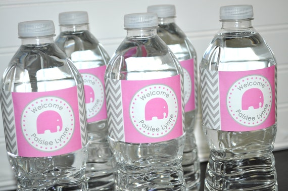 Girls Elephant Baby Shower Water Bottle Labels Itu0027s A