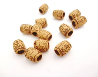 Large Hole Tube Resin Beads_NC548500/3529_Resin Decorative Tube Beads of 6 x 8 mm hole 3/5 mm _ pack 40 pcs