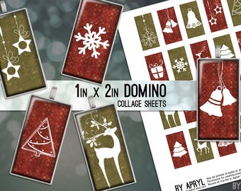 Christmas Red and Green 1x2 Domino Collage Sheet Digital Images for Glass and Resin Pendants Magnets Paper Craft JPG D0022