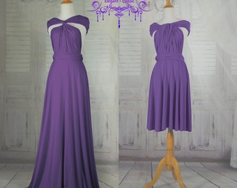 Purple Wrap  Infinity Dress Evening Dresses Straight Hem Floor Length  Bridesmaid Dress-C40#B40#