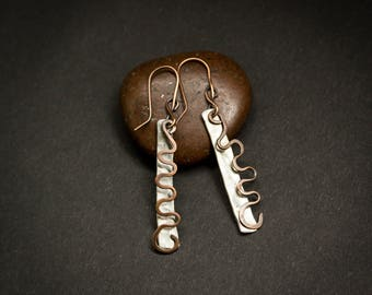 Aluminium and copper earrings, long earrings, hammered aluminium earrings, lightweight earrings