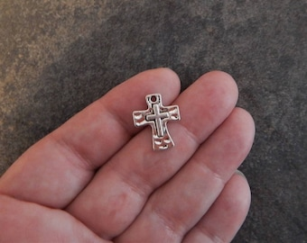 8 Little Cross Charms Pendants Hammered Rustic Jewelry Supplies 17x14mm