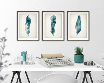Teal Feather Print Set Of 3 - Watercolor Feathers Wall Art Print - Modern Home Decor - Bird Feather Poster - Watercolour Painting Art