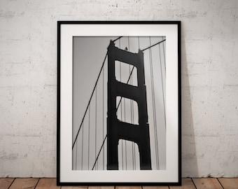 Golden Gate Bridge | Monochrome | San Francisco | California | Photo Print