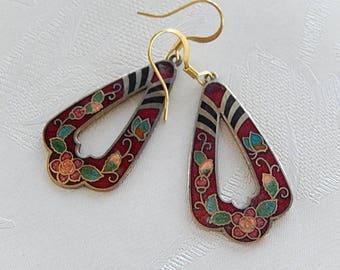 Cloisonne Earrings, Floral Earrings, Vintage, Dangly,  Gift for Her