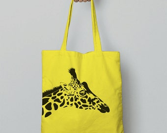 Giraffe Tote Bag / Canvas Bag / Shopping Bag / Shoulder Bag / Canvas Tote Bag / Christmas Gift For Girlfriend / Animal Gift Women / Giraffes