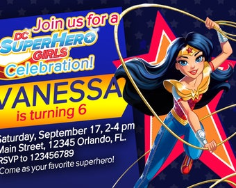 DC Superhero Girls party invitation Birthday party Superhero - We deliver your order In less than 4 Hours Wonder Woman Supergirl Batgirl