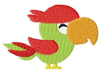 Embroidery Design Parrot Pirate 4'x4' - DIGITAL DOWNLOAD PRODUCT