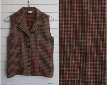 90's Vintage gingham sleeveless button down shirt Revue