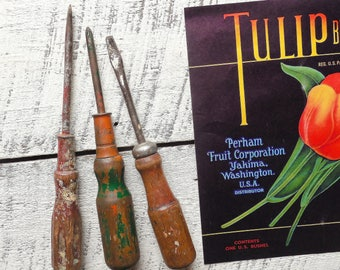 Old tool collection - vintage wood handle screwdrivers – paint splattered screw driver accidental art – tool wall & art supply 0696