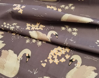 Dabbling Swan Plum < Hello, Ollie by Bonnie Christine > Art Gallery Fabrics < Fabric by the Yard > Swans