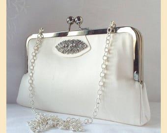 ivory shoulder bag in silk, bridal purse with silver shoulder chain, Art Deco wedding handbag with optional personalisation