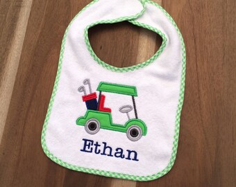 Golf Cart name baby bib - embroidered & personalized, appliqued, preppy