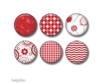 Red pinback button badges or fridge magnets, fridge magnet set