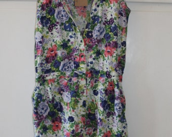 Vintage Floral Playsuit | Size 10 12