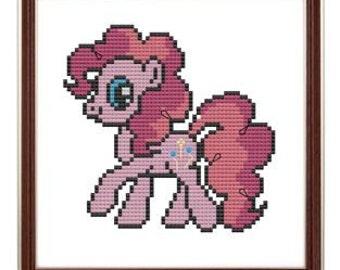 My Little Pony Pinkie Pie inspired cross stitch pattern .pdf