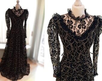 Victorian Goth Black Dress. Vintage. 1970's.