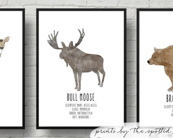 Watercolor Woodland Animal Series Nursery Prints. Brown Bear, Spotted Deer and Moose. 8x10 and 11x14 Sizing.
