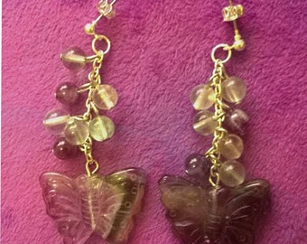 Carved Amethyst Butterfly earrings