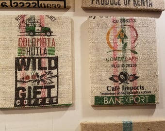 Set of 2 Colombia by Jeep (Colombia) Coffee Bag Wall Hanging