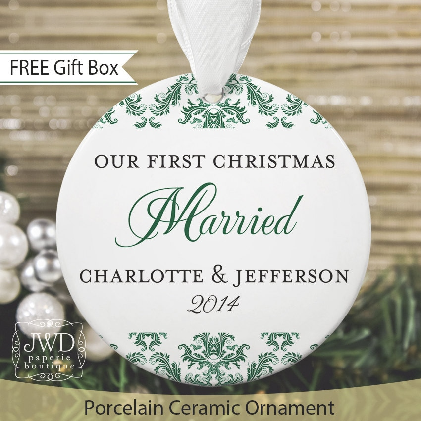 Christmas Ornament Wedding Gift: First Christmas Ornament Married Personalized Wedding Gift Our