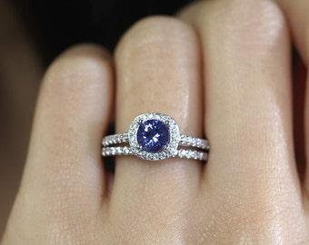 Genuine Tanzanite Engagement Ring Set.Tanzanite Bridal Set.Diamond Wedding Ring Set.Diamond Engagement Ring.Diamond Wedding Band.