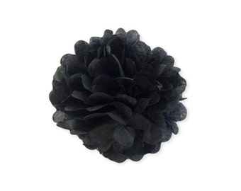 14 Inch Black Tissue Pom Poms  -  Paper Party Decor Decoration Supplies