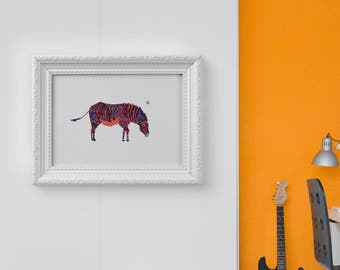 Purple Zebra - Zoo Animal Print- Zebra Art Print - limited edition art print // Home Decor // 13 x19, 11 x 14, 8 x 10, 5 x 7