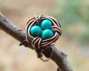 Bird nest ring, Oxidized copper, Howlite Stone, Turquoise, Custom sized, Wire jewelry