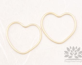 A348-02-MG// Matt Gold Plated Heart Link, 4pcs