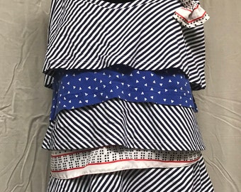Red, White & Blue Ruffle Top with Bow Pin
