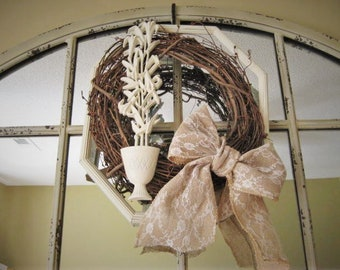 Sweet & Simple Wreath for Wedding or Home Decor / Burlap and Lace Grapevine Wreath in Frame with Romantic Lilies