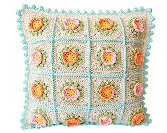 CROCHET PATTERN: Flowery crochet cushion pattern/Cushion pattern/Crochet cushion/Crochet pillow pattern/Crochet pillow/pdf crochet pattern