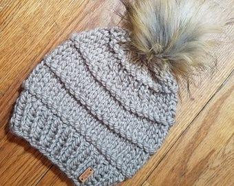 Chunky Knit Hat - Toupe - Beanie - Knitted Hat - Knitted Beanie - Faux Fur Pom Pom - Winter Hat - With Pom Pom
