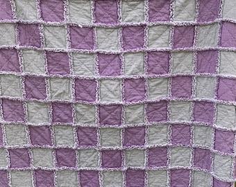 "Grape Purple Checked and Gray Checked Homespun Fabric Rag Quilt 69""x78"""" Purple Gray Homemade Homespun Fabric Reversible Twin Throw Lap"
