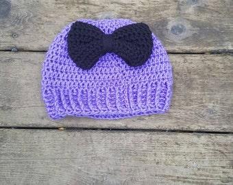 Messy bun hat, messy bun beanie, purple messy bun hat, big bow messy bun beanie, big bow messy bun hat, purple messy bun beanie, pony hat
