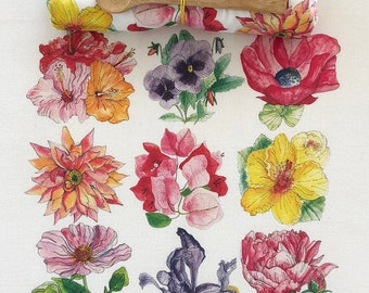 Flour Sack Tea Towel. Mostly Pink Flowers. Gourmet quality, white cotton. Hostess or Holiday Gift.