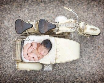 backdrop, background digital newborn baby girl or boy bike , motorcycle cream white