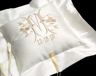 Silk Ring Bearer Pillow, Personalized Shamrock Monogram, Style 4204