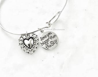Love You Bigger Than the Sky Love You Deeper Than The Ocean Heart Charm Bangle Bracelet - Solid 925 Sterling Silver - Insurance Included