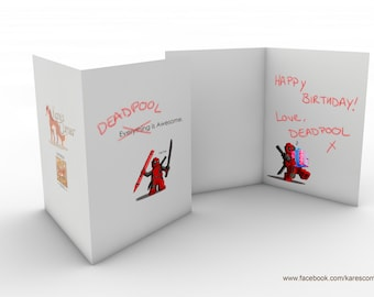 Lego Deadpool inspired Birthday Card