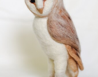 Needle Felted Barn Owl Sculpture