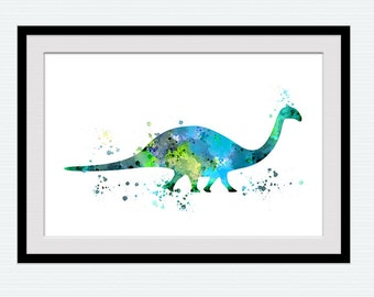 Brontosaurus watercolor print Dinosaur art poster Dinosaur decor Jurassic wall art Home decoration Kids room wall decor Dinosaur art W644