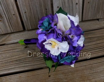 purple hydrangea bouquet, small bouquet, maid of honors or bridesmaids bouquet