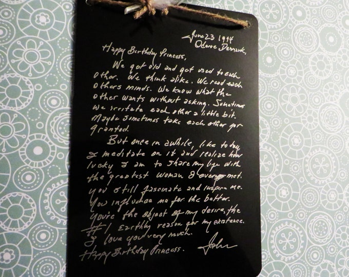 Engraved Handwritten Note From Johnny Cash to June Carter - Wall Decoration -