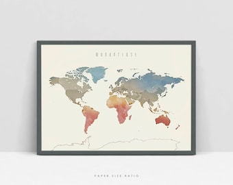 Watercolor world map etsy wanderlust printable world map digital download watercolor world map kids map of the gumiabroncs Gallery