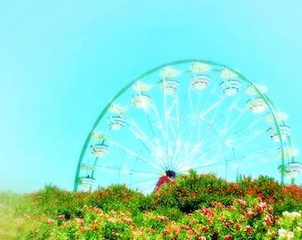 Dreamy Ferris Wheel Ride at the Fair - Carnival Ferris Wheel, Nursery Photo Art, Dreamy Art, Abstract Fine Art Photography, 8 x 10 Print