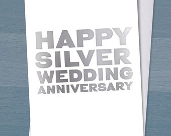 Happy Silver Wedding Anniversary / 25 years married / 25th wedding anniversary / Typography / Typographical