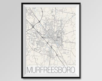 MURFREESBORO Tennessee Map, Murfreesboro City Map Print, Murfreesboro Map Poster, Murfreesboro Wall Map Art, Custom city maps, Tennessee map
